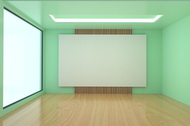 Sala de reuniones vacía en diseño de color verde en 3d