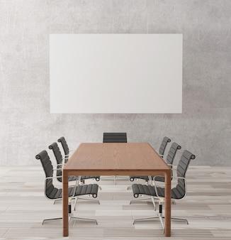 Sala de reuniones vacía con sillas, mesa de madera.