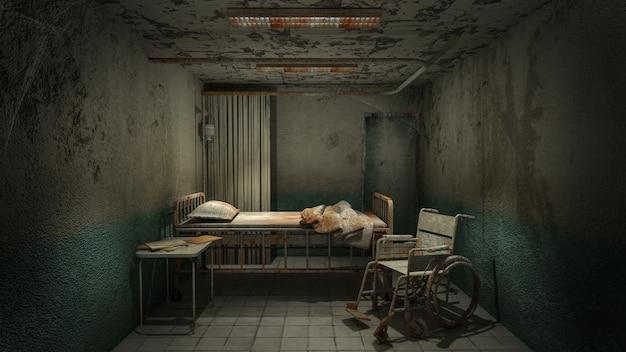 Sala de sala de terror y espeluznante en el hospital con sangre.