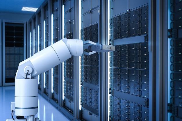 Sala de servidores de automatización con brazo de robot de renderizado 3d que funciona en la sala de servidores