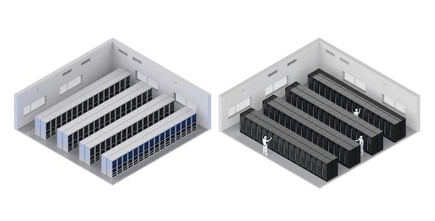 Sala de servidores de renderizado 3d o centro de datos interior isométrico