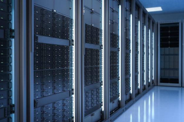 Sala de servidores de renderizado 3d o centro de datos