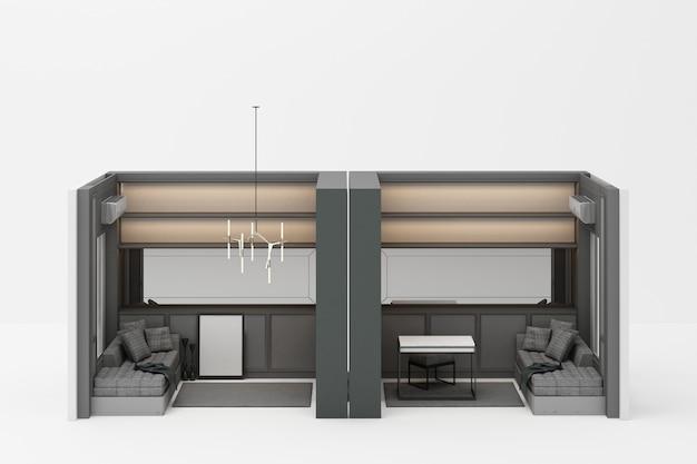Sala de trabajo en estilo clásico moderno con tonos de muebles grises en blanco 3d rendering