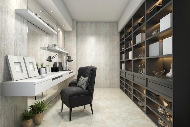 Sala de trabajo de lujo moderno de representación 3d