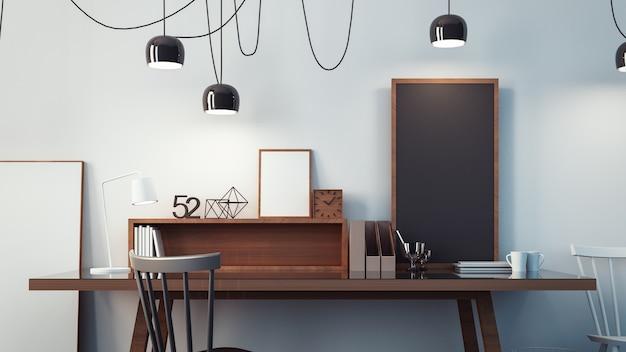 Sala de trabajo y oficina moderna interior / representación 3d