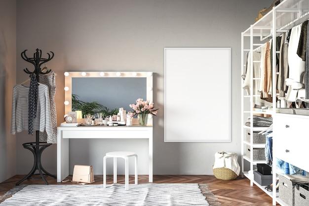 Sala de vestir con marco vertical.