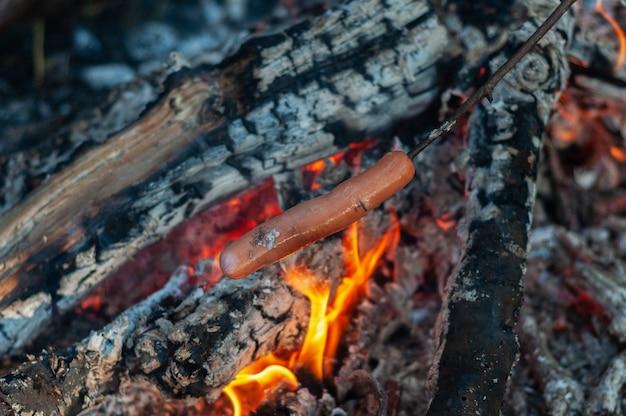 Salchicha en un palo frito en un fuego en el bosque durante un viaje de campamento