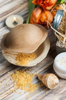 Sales de baño de naranja y cosméticos