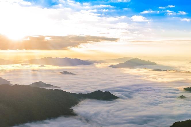 Salida del sol y mar de la niebla, vista del parque del bosque de phucheefa