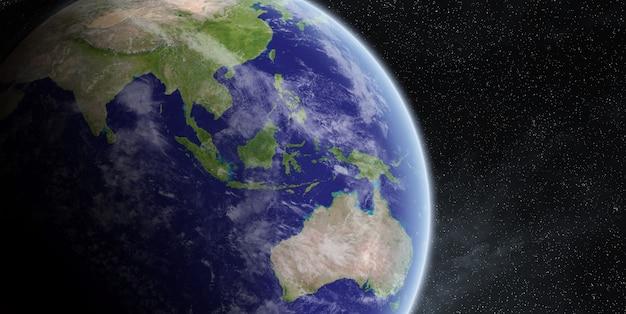 Salida del sol sobre el planeta tierra en el espacio