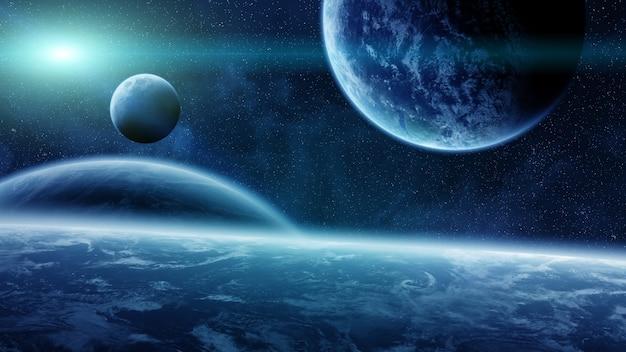 Salida del sol sobre planetas en el espacio