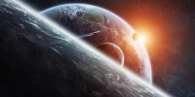 Salida del sol sobre el sistema de planeta distante en el espacio