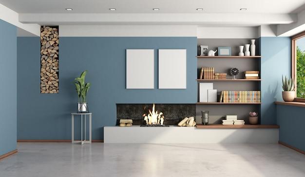 Salón azul con chimenea moderna.