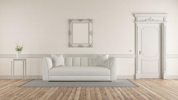 Salón blanco en estilo clásico.