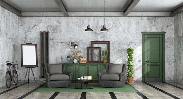 Salón de estilo industrial.