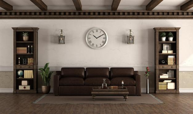 Salón de estilo retro con sofá de cuero.
