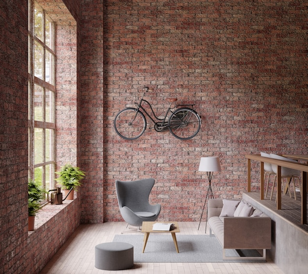 Salón industrial, ventana grande, sillón y silla, suelo de madera, bicicleta.