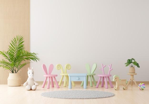 Salón infantil blanco con espacio libre.