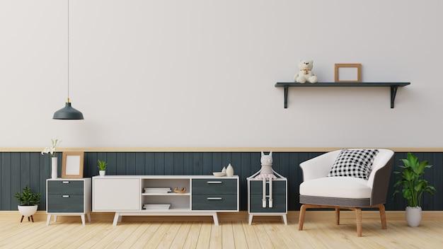 Salón interior con aparador blanco y sillón. representación.