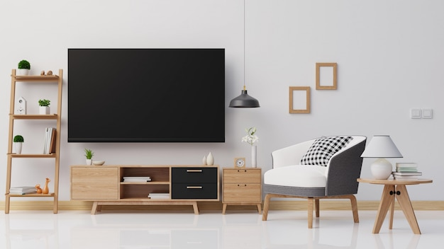 Salón interior con colorido sofá blanco. representación 3d