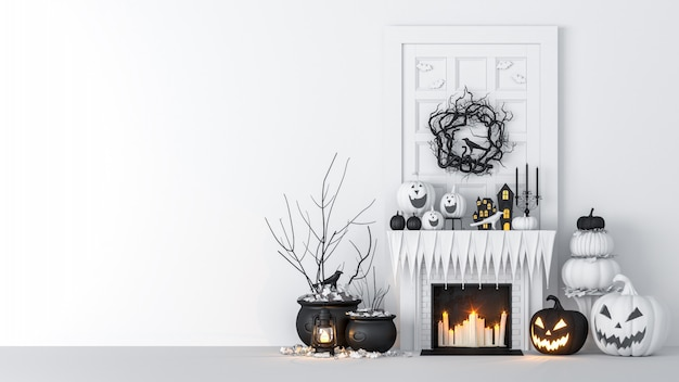 Salón interior decorado con linternas y calabazas de halloween, jack-o-lantern, para fiesta de halloween