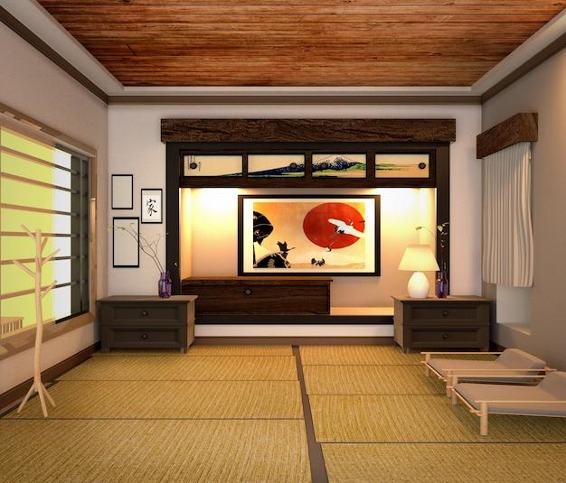 Salón interior, estilo japonés. representación 3d