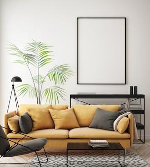 Salón interior con muebles, sofá y marco de fotos en blanco.
