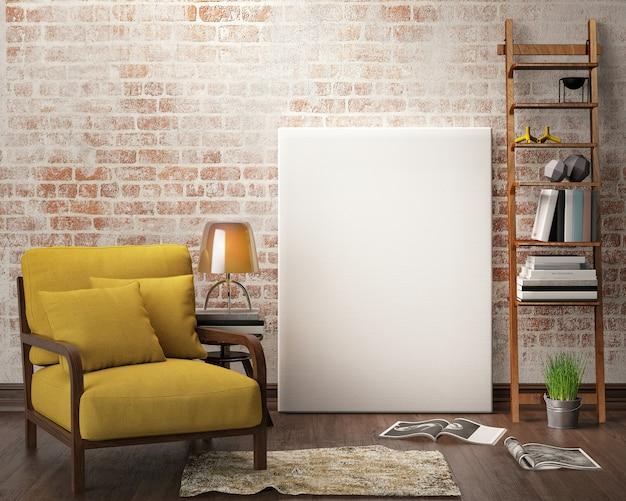 Salón interior con muebles, sofá y marco de lienzo en blanco.