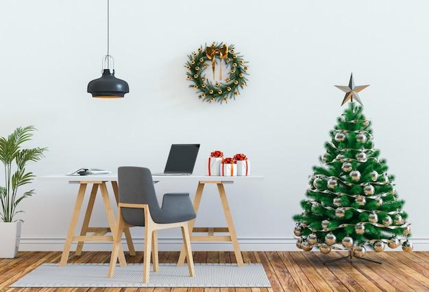 Salón interior con navidad. render 3d