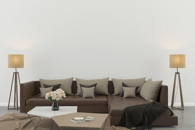 Salón interior pared blanca piso de concreto sofá interior silla lámpara