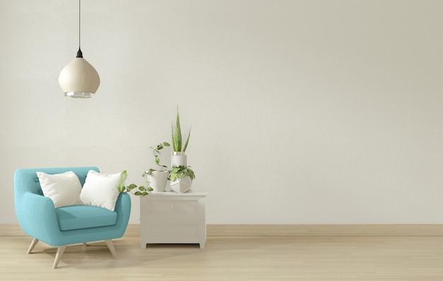 Salón interior con sillón azul y decoración. representación 3d