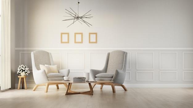 Salón interior con sillón blanco. representación 3d