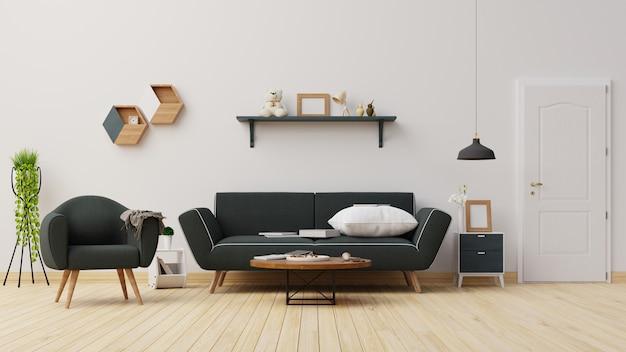 Salón interior con sofá azul oscuro. representación.