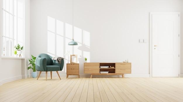 Salón interior con sofá azul. representación.