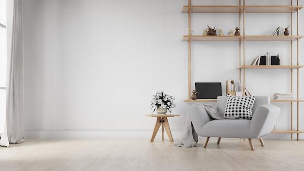 Salón interior con sofá blanco. representación 3d