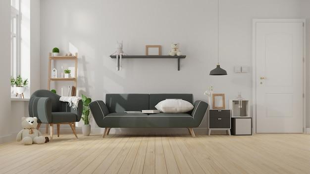 Salón interior con sofá oscuro. representación.
