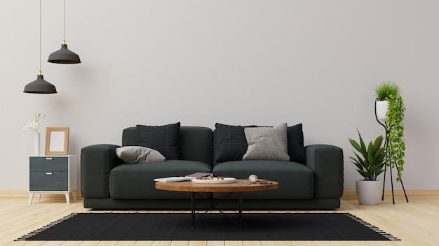 Salón interior con sofá. representación.