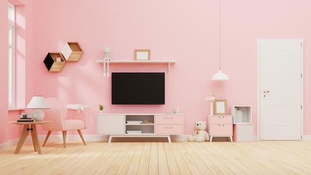 Salón interior con sofá rosa. representación.