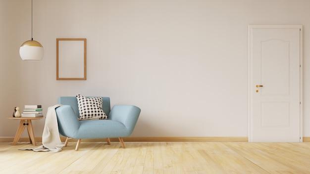 Salón interior con sofá de terciopelo, mesa. representación 3d