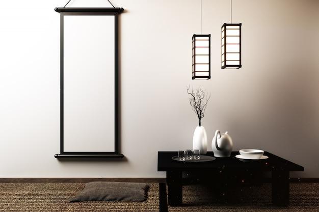 Salón japonés con lámpara, marco, mesa baja negra en la pared de la habitación blanca