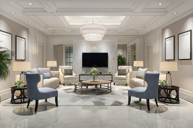 Salón de lujo y moderno con estantería