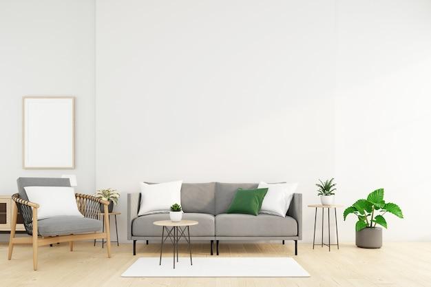 Salón minimalista con sofá y sillón, pared blanca y planta verde. representación 3d