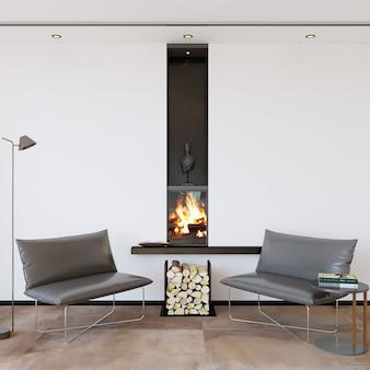 Salón moderno con chimenea y sillones.