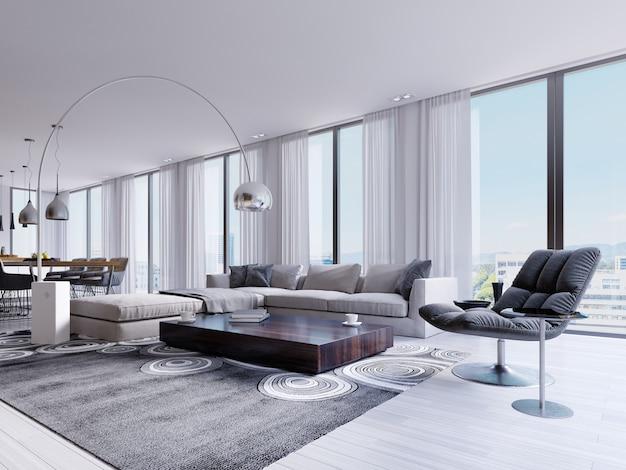 Salón moderno con grandes ventanales y sillón y mesa de comedor de diseño. representación 3d