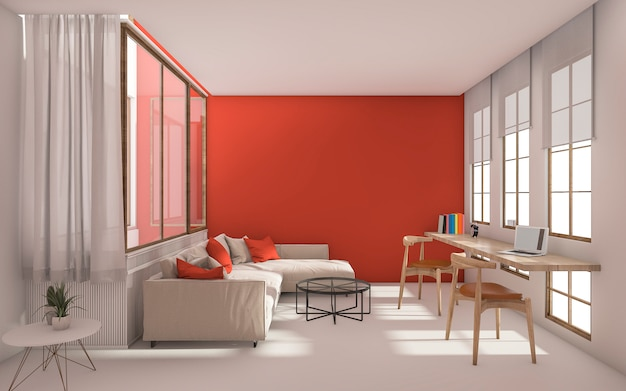 Salón moderno rojo con luz natural desde la ventana