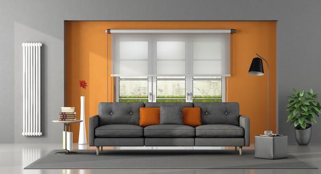 Salón naranja gris