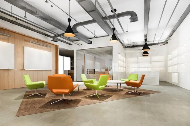 Salón de oficina loft moderno de renderizado 3d en espacio de trabajo co