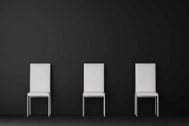 Salón oscuro con silla blanca. representación 3d