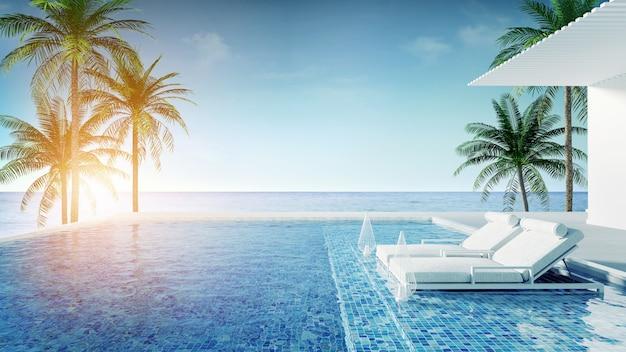 Salón de playa, tumbonas en la terraza para tomar el sol y piscina privada con vista panorámica al mar en villa de lujo / representación 3d