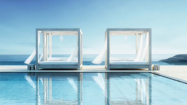 Salón de playa - villa frente al mar con vista al mar para vacaciones y verano